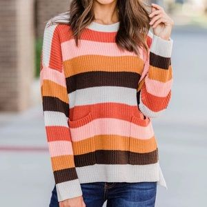 NWOT PINK LILY Striped Multicolored Fall sweater